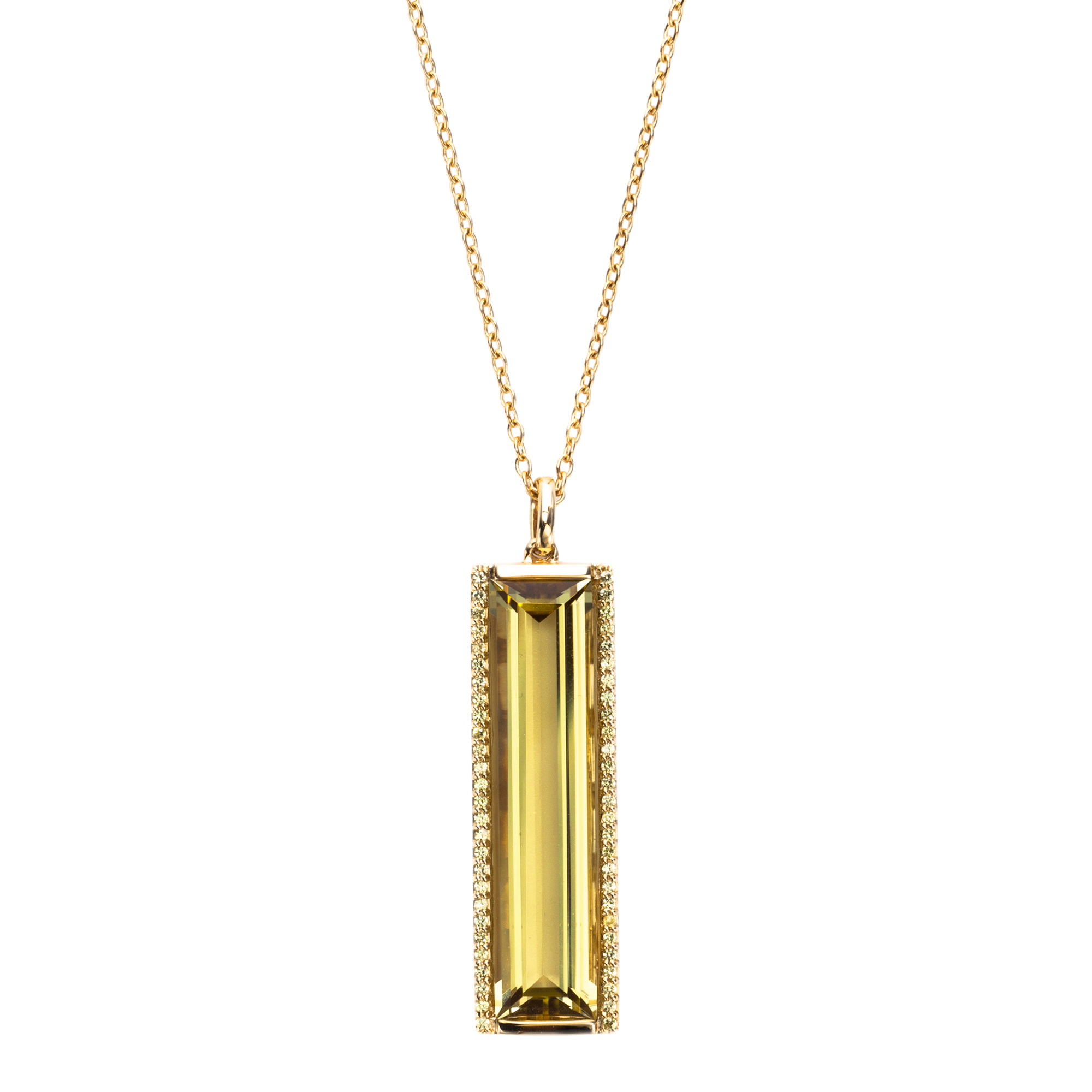Jane Taylor Lemon Quartz & Pavé Diamond Vertical Bar Necklace