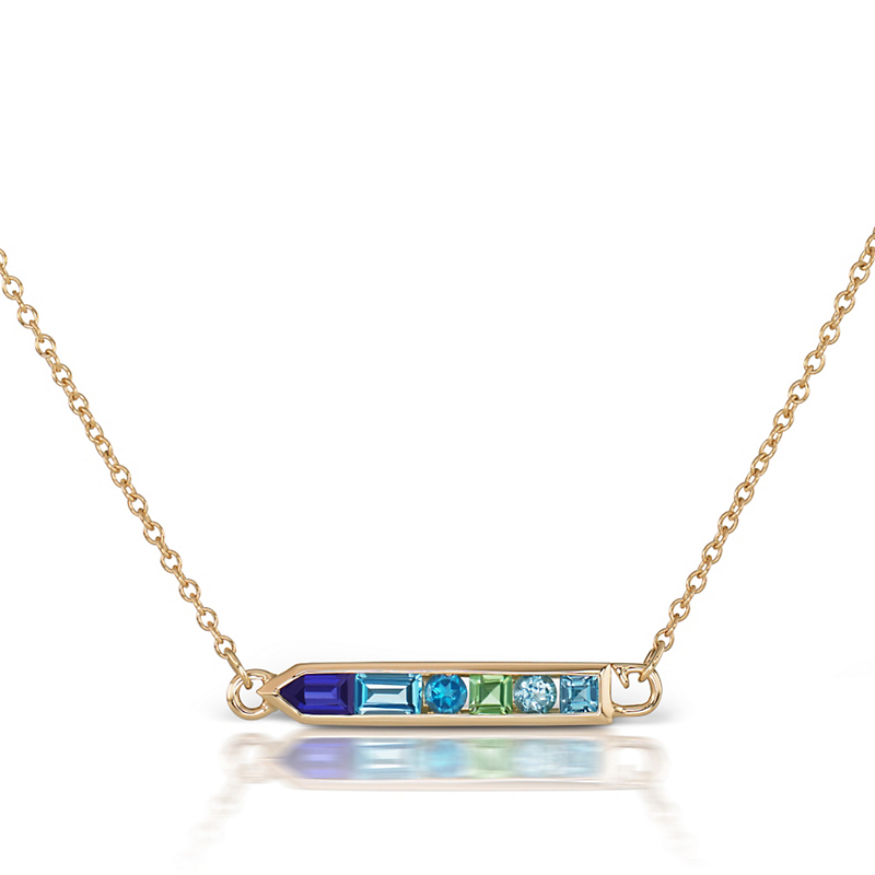 Jane Taylor Blue Topaz, Iolite, & Green Tourmaline Gradient Arrow Necklace