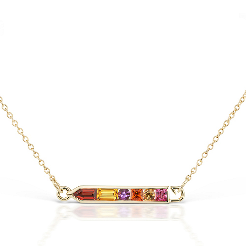 Jane Taylor Garnet, Citrine, & Pink Tourmaline Gradient Arrow Necklace