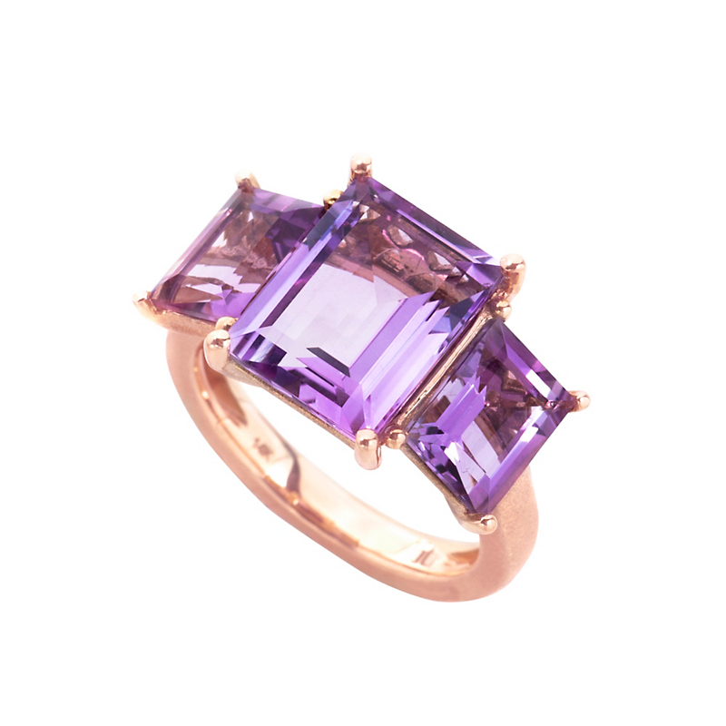 Jane Taylor Three-Stone Amethyst Baguette Ring