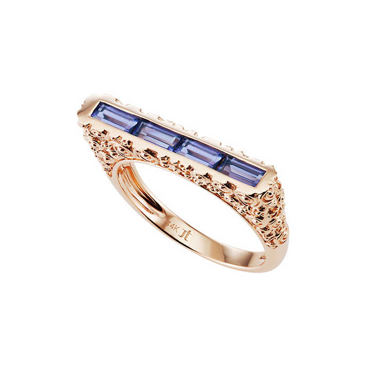 Jane Taylor Slim Bar Ring With Iolite Baguettes