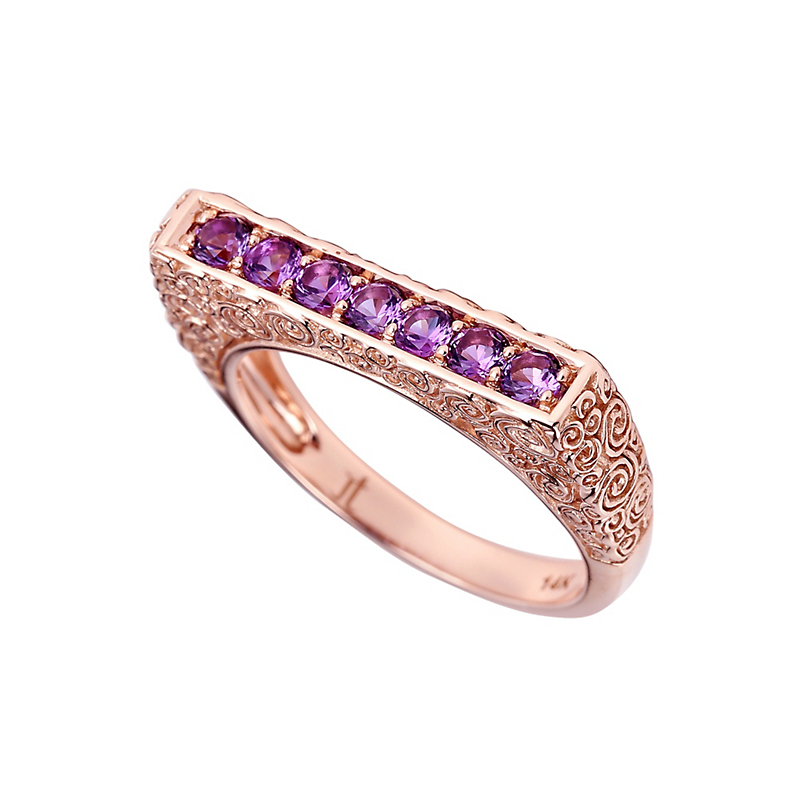 Jane Taylor Slim Rose Gold Bar Ring With Amethyst