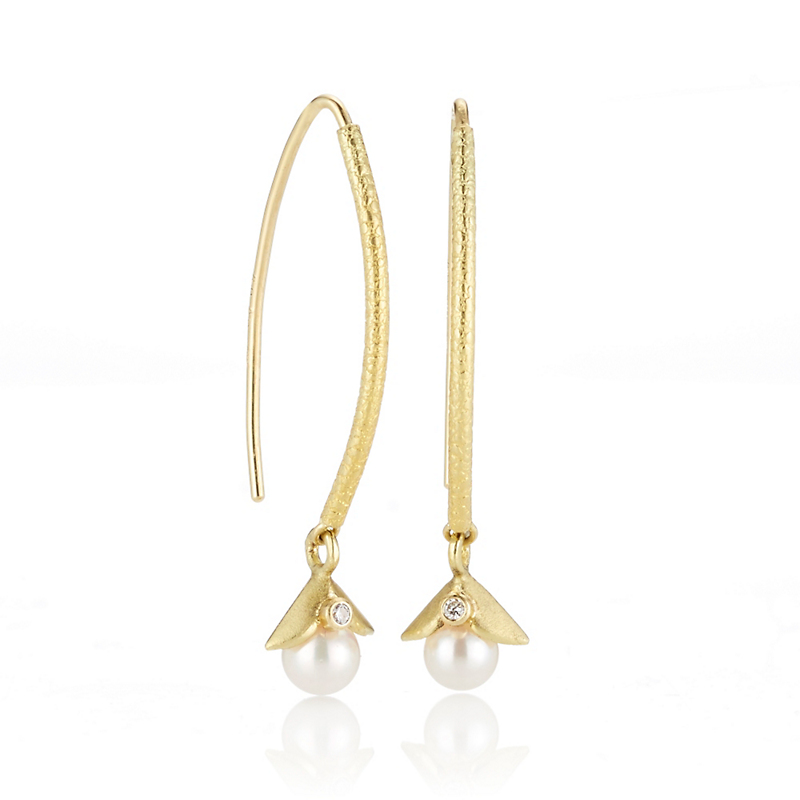 Barbara Heinrich Diamond & Akoya Pearl Navette Drop Earrings