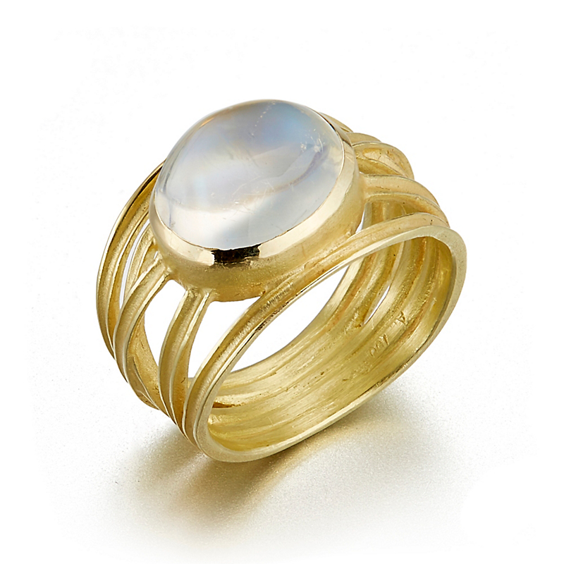 Barbara Heinrich Gold Criss Cross Moonstone Cabochon Ring