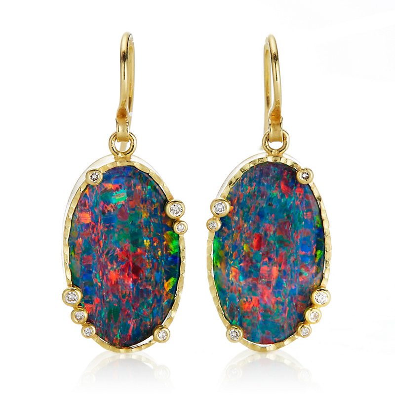 Barbara Heinrich Opal & Diamond Oval Drop Earrings