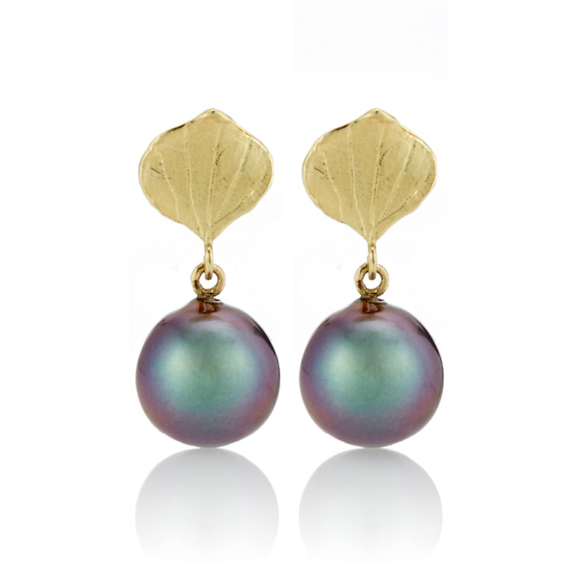 Barbara Heinrich Gold Aspen Leaf & Tahitian Pearl Drop Earrings