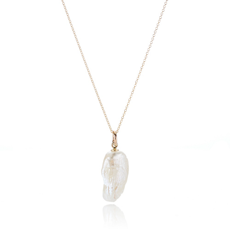 Gump's White Natural Shape Freshwater Pearl Pendant Necklace
