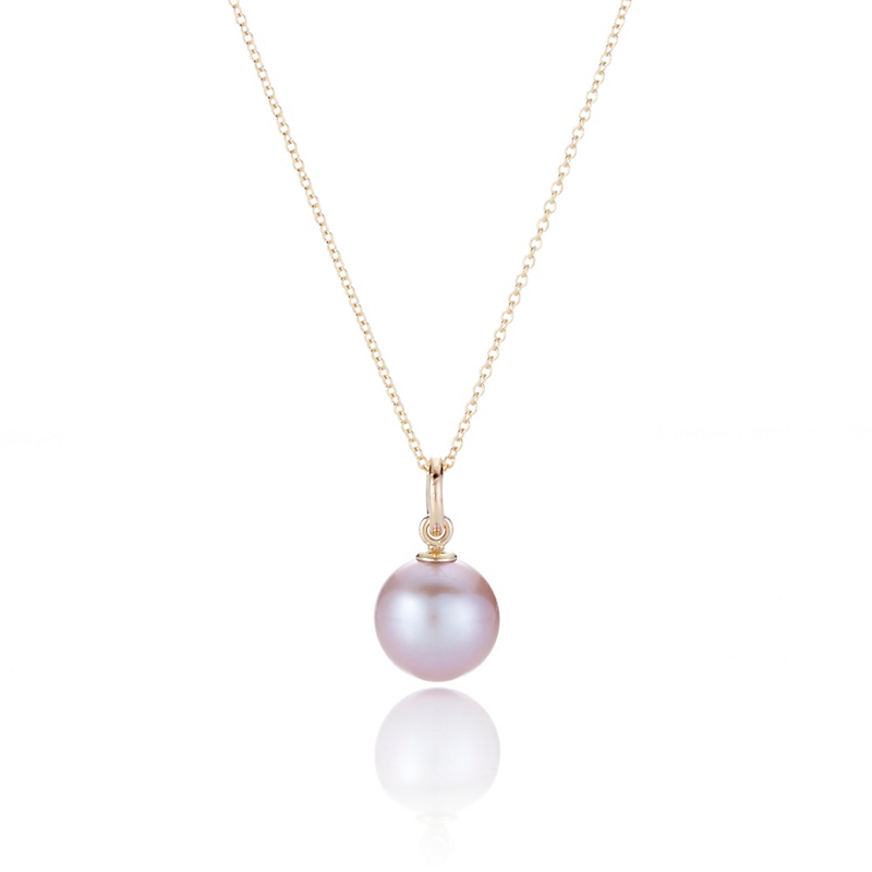 Gump's Pink Round Pearl Pendant Necklace