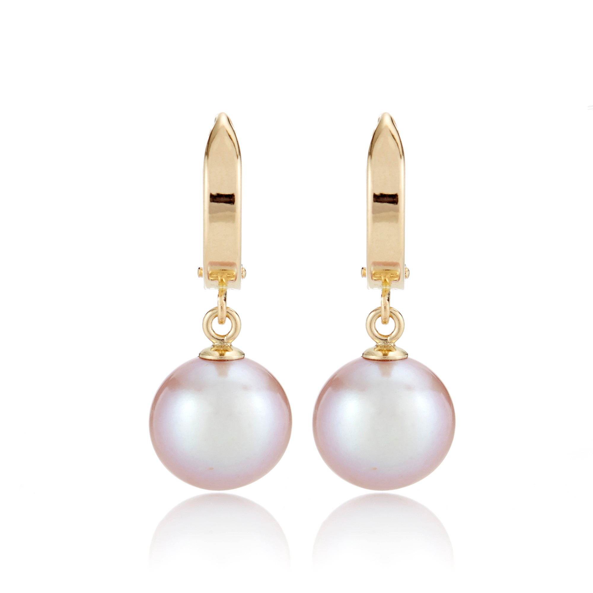 Gump's Gold Hoop & Pink Freshwater Cultured Pearl Drop Earrings