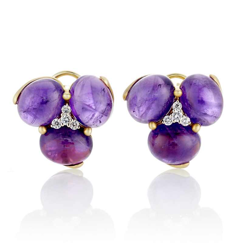 Large Amethyst Cabochon & Diamond Cluster Earrings