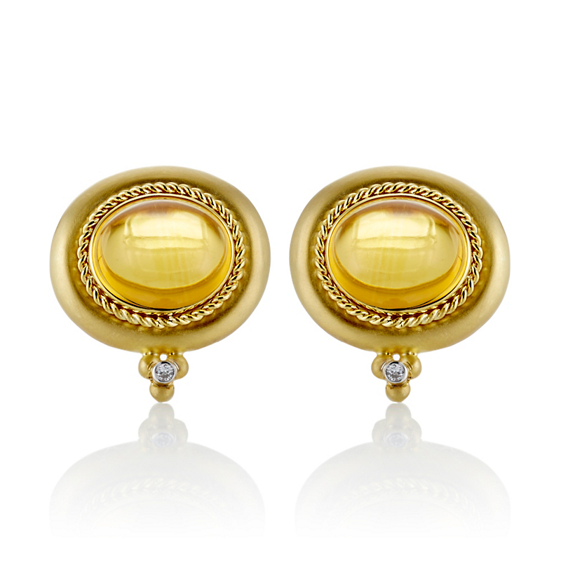 Citrine Cabochon & Diamond Luna Gold Earrings