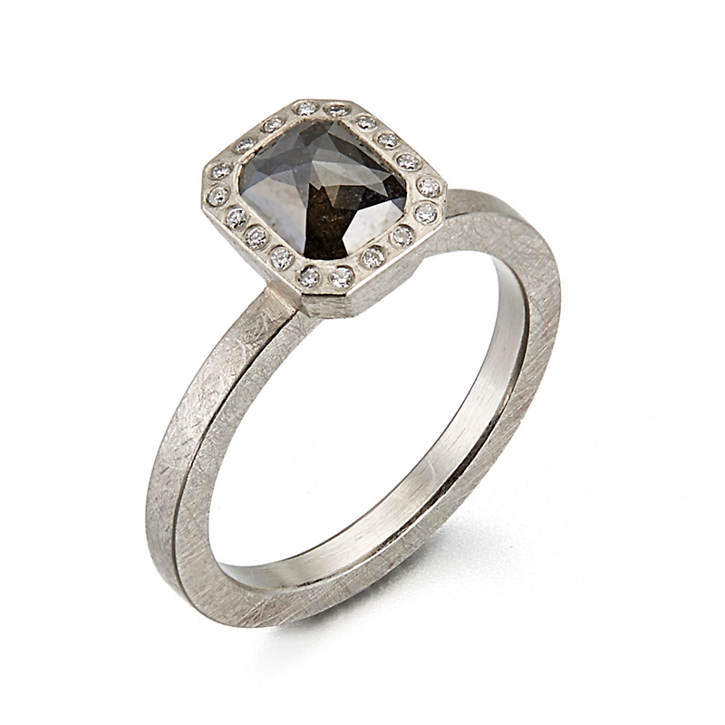Todd Reed Black Diamond Palladium Ring