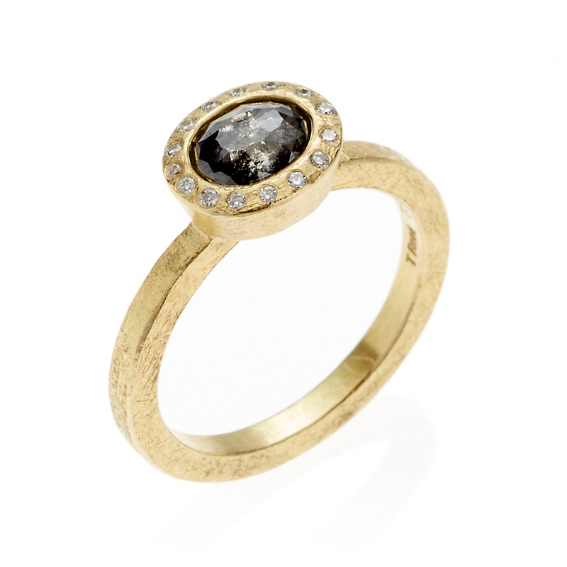 Todd Reed Black & Gray Fancy Diamond Gold Ring
