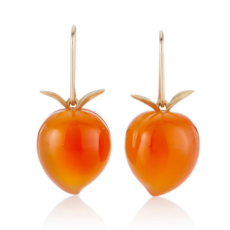 Gabriella Kiss Carnelian Peach Drop Earrings