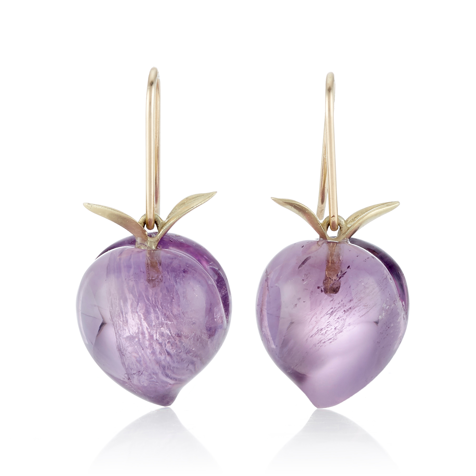 Gabriella Kiss Amethyst Peach Drop Earrings