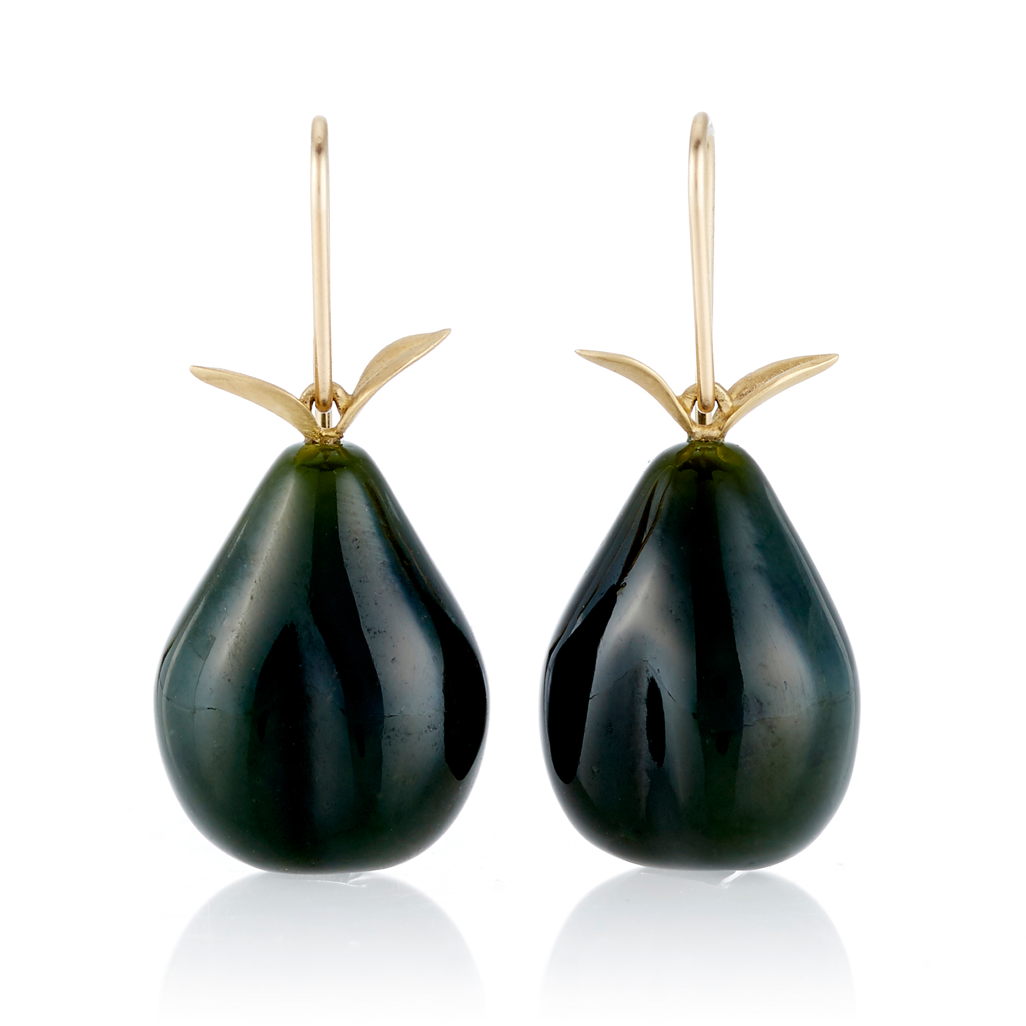 Gabriella Kiss Dark Green Nephrite Jade Pear Drop Earrings