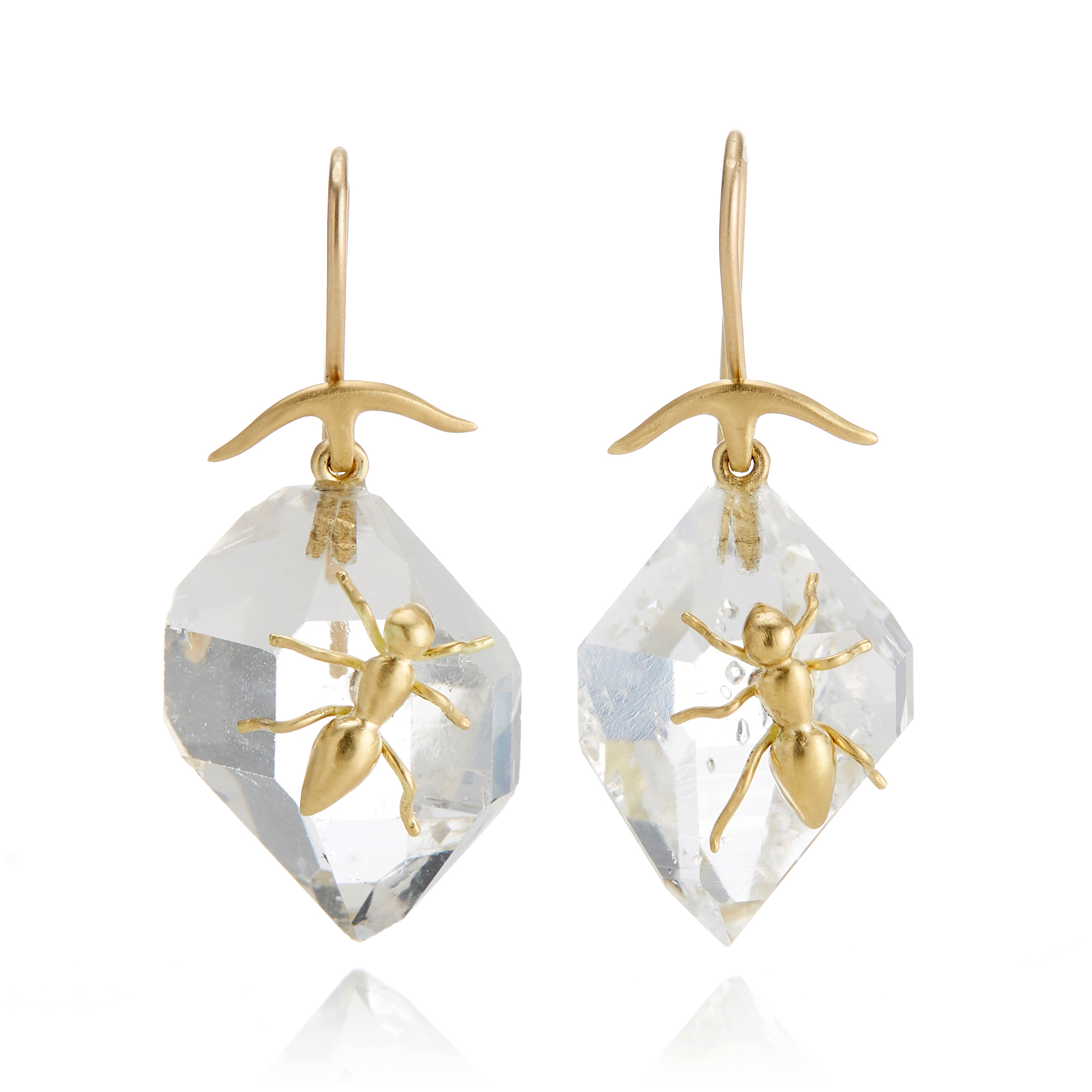Gabriella Kiss Herkimer Quartz & Gold Ant Drop Earrings