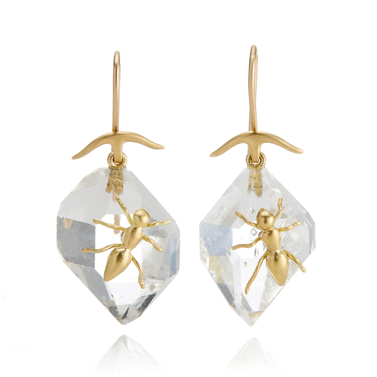 Gabriella Kiss Herkimer Quartz Gold Ant Drop Earrings