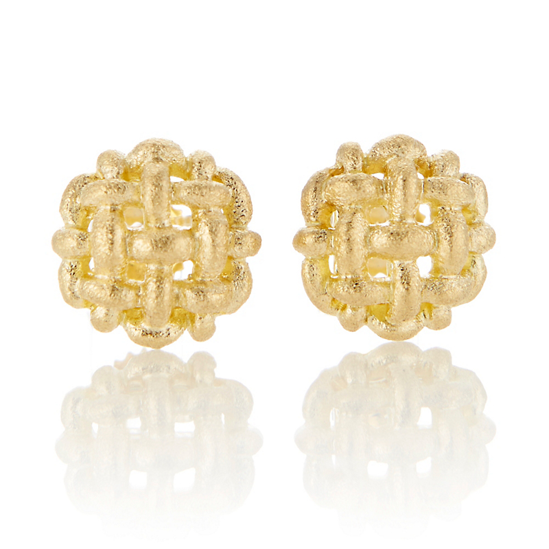 Aaron Henry Gold Woven Button Earrings