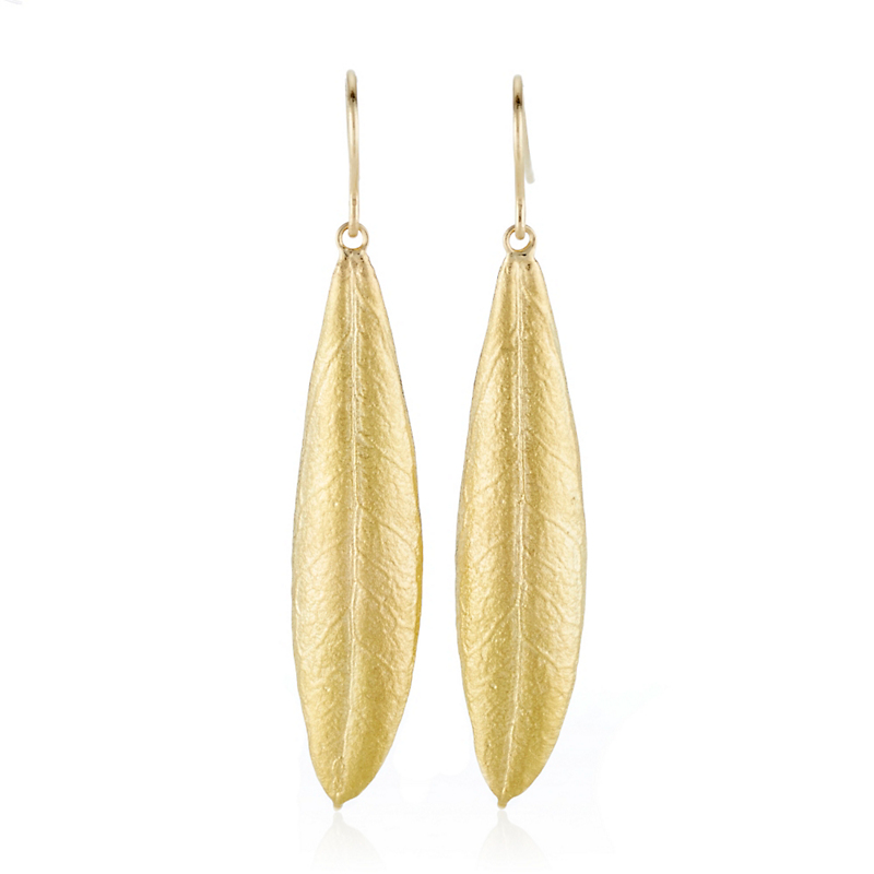 Aaron Henry Gold Olive Leaf Earrings