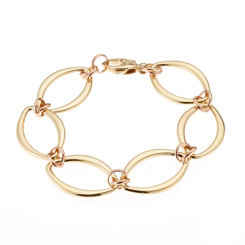 Yellow & Rose Gold Marquise Link Bracelet