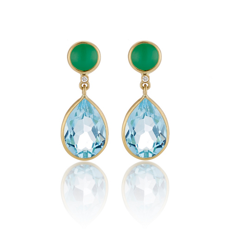 Kothari Mint Chrysoprase Blue Topaz Round & Pear Drop Earrings