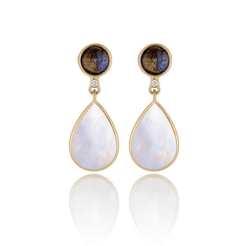 Kothari Labradorite Rainbow Moonstone Round & Pear Drop Earrings