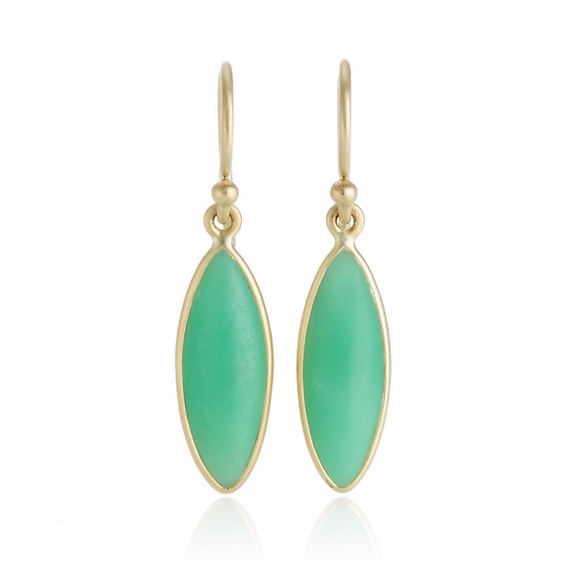 Kothari Mint Chrysoprase Marquise Drop Earrings