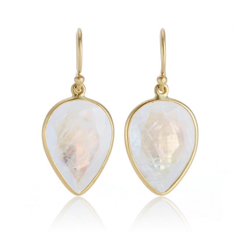 Kothari Rainbow Moonstone Inverted Pear Drop Earrings