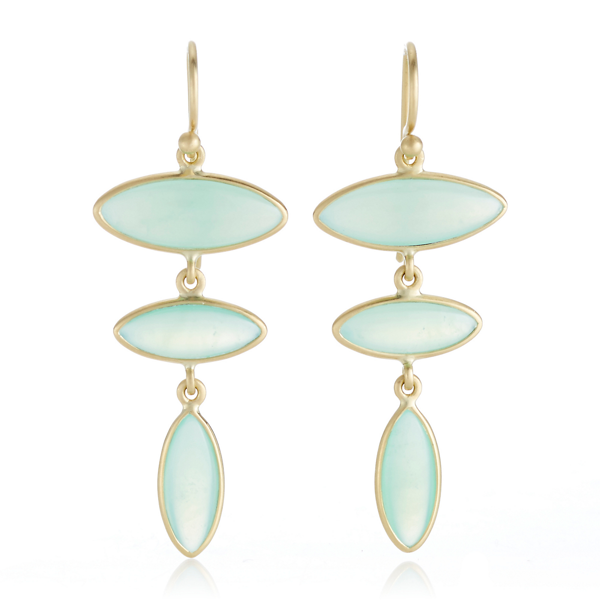 Kothari Mint Chrysoprase Triple Marquise Drop Earrings