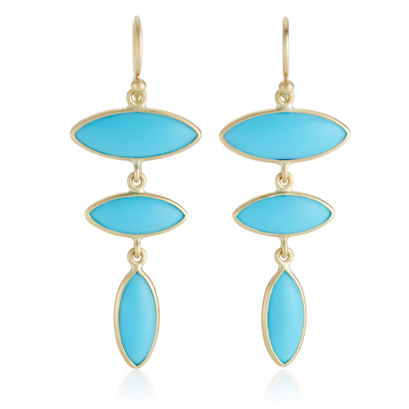 Kothari Turquoise Triple Marquise Drop Earrings
