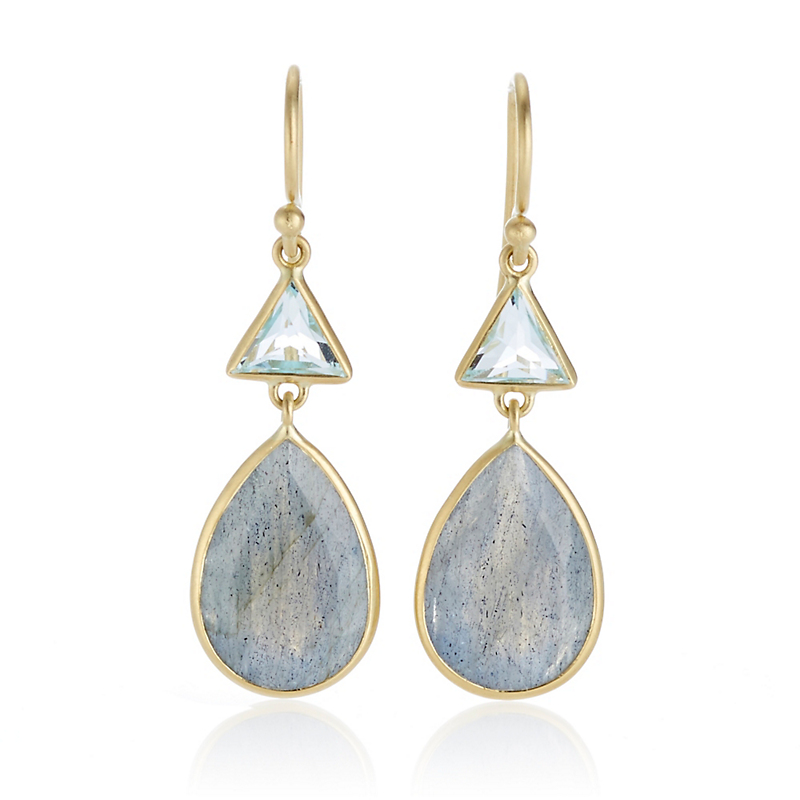 Kothari Blue Topaz Labradorite Triangle & Pear Drop Earrings