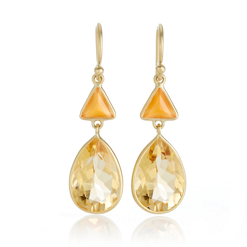 Kothari Carnelian Citrine Triangle & Pear Drop Earrings