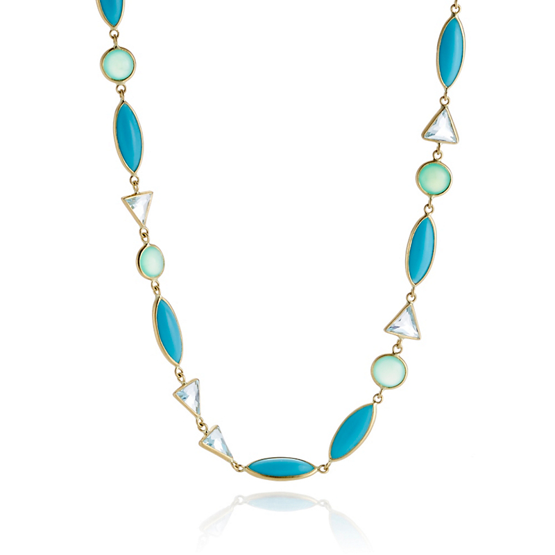 Kothari Turquoise & Blue Topaz Mix Shape Demi Necklace