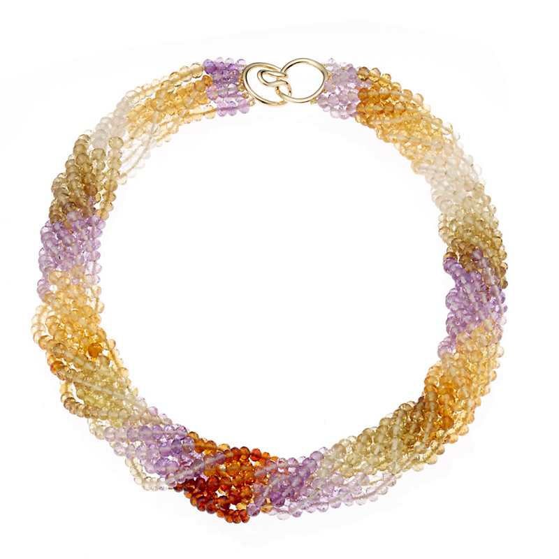 Gump's Eight Strand Multicolor Faceted Quartz Necklace