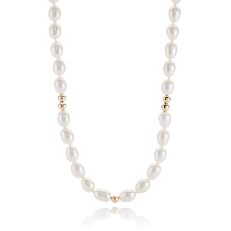 Gump's Small Oval Pearl & Gold Rope, 38 Inches