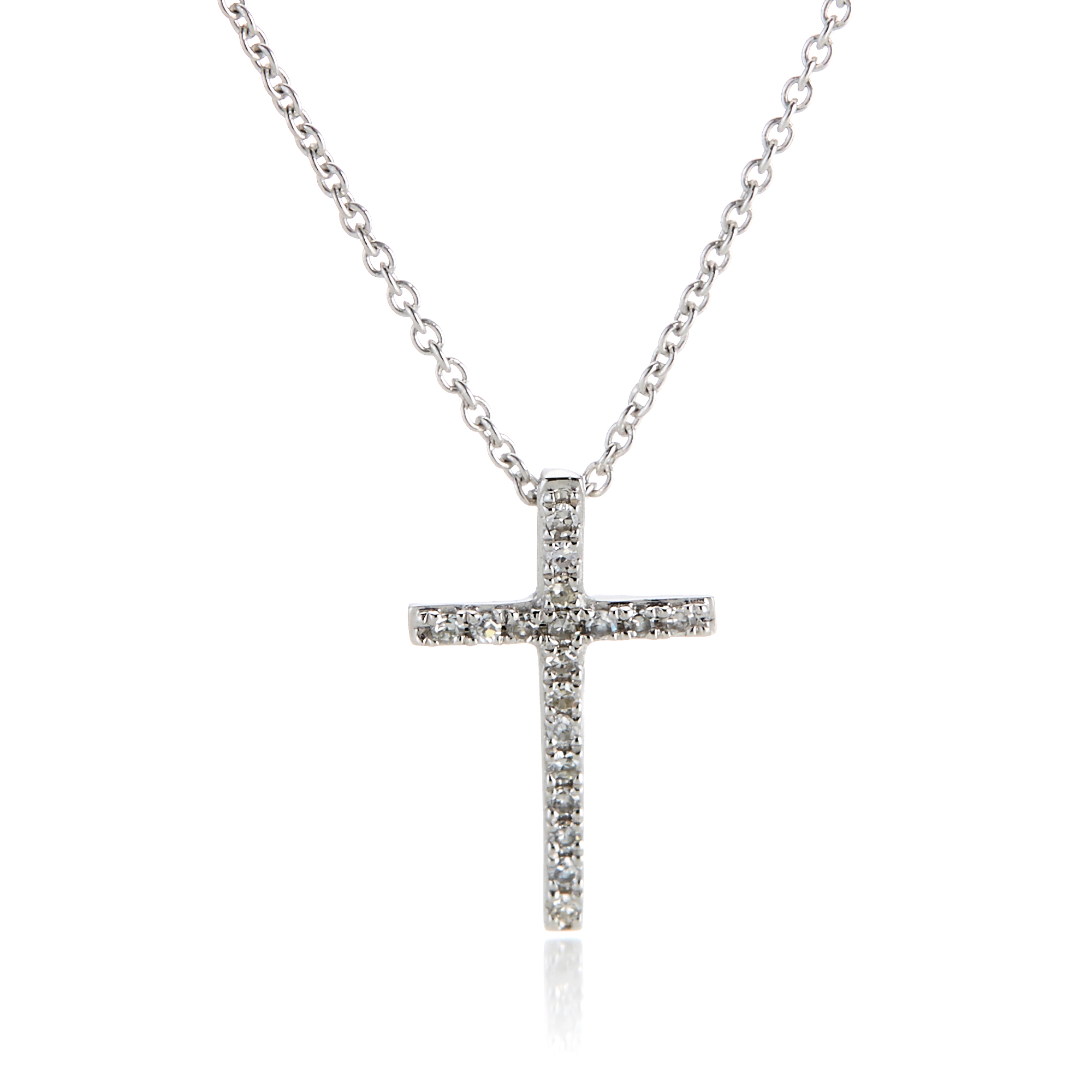 Small Diamond Cross Pendant Necklace