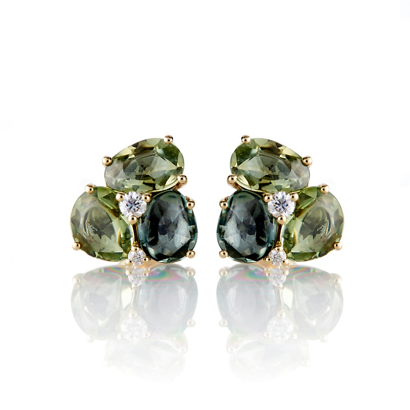 Yellow & Green Sapphire Diamond Cluster Earrings