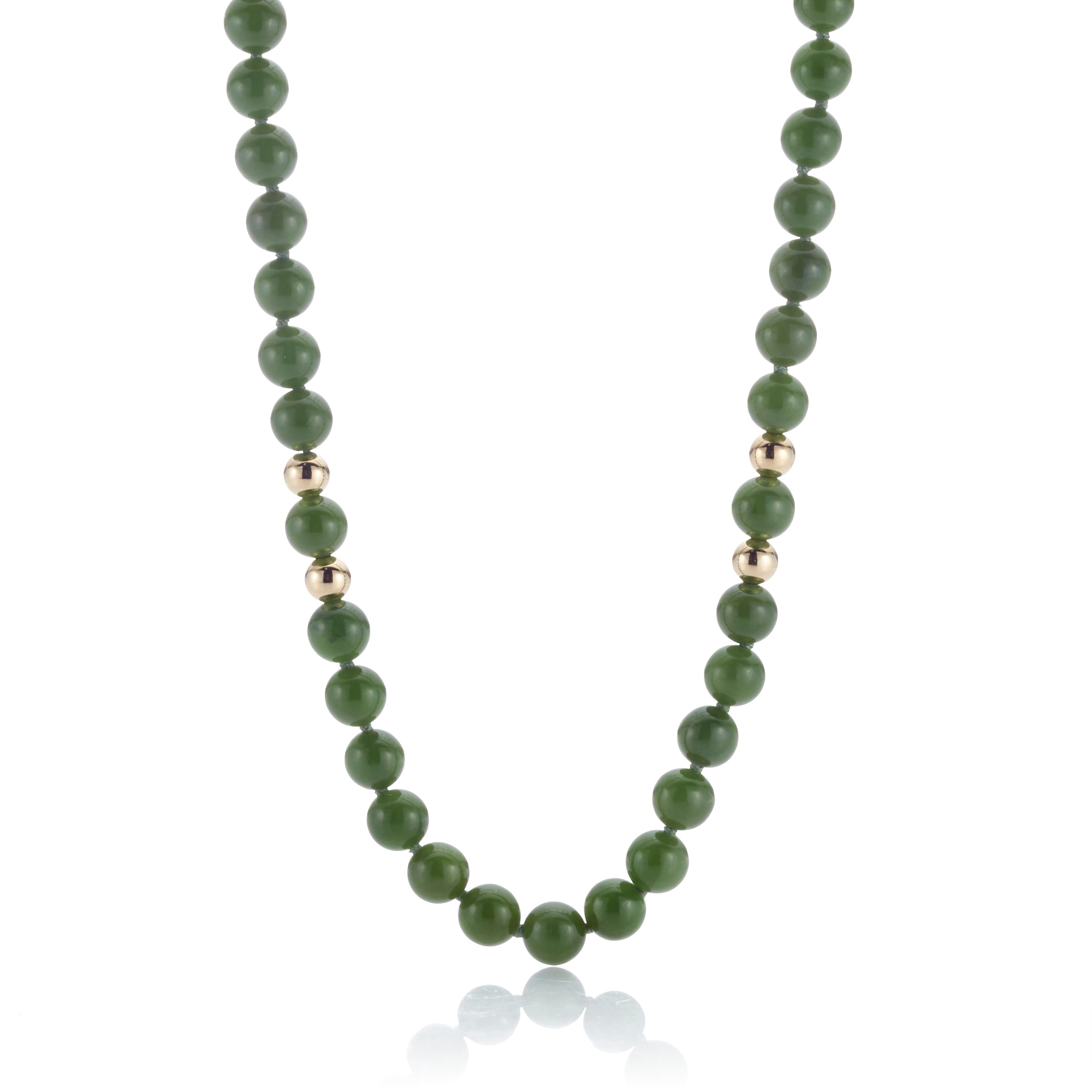 Gump's Small Green Nephrite Jade & Gold Bead Rope Necklace