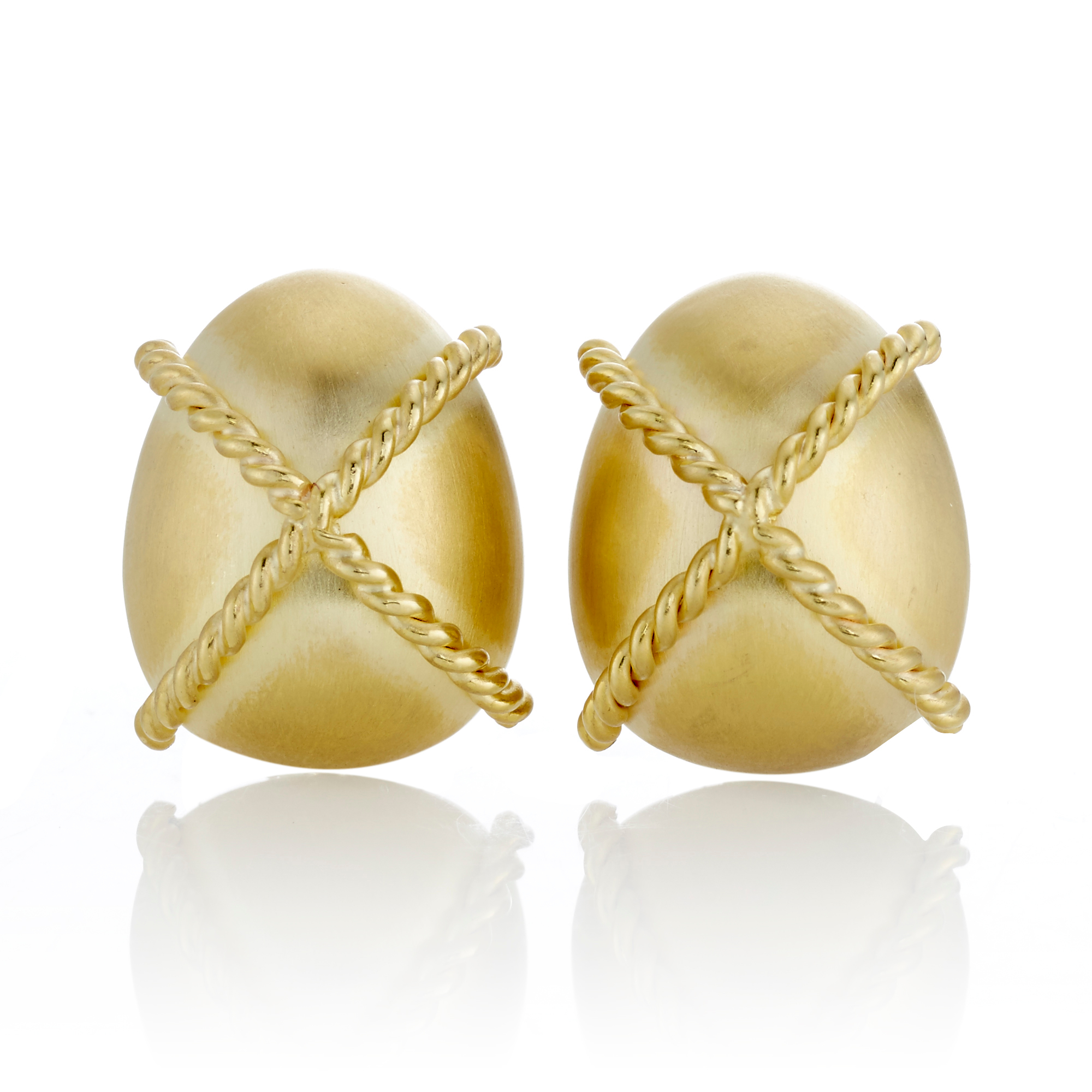 Twisted Cross Matte Oval Gold Earrings