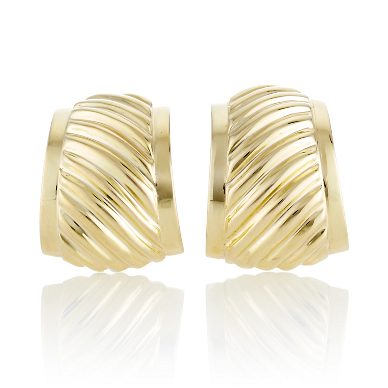 Large Wide Fluted Gold Cuff Earrings