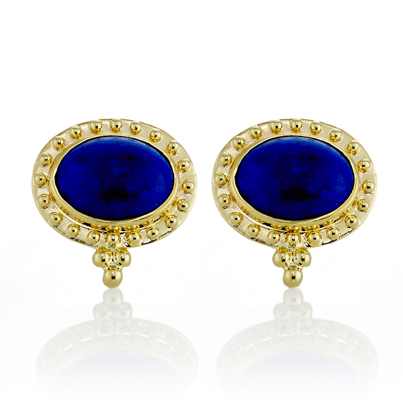 Lapis Cabochon East West Beaded Bezel Earrings