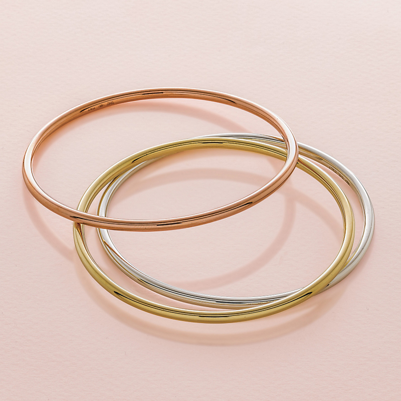 Thin Gold Bangles: Rose, Yellow or White