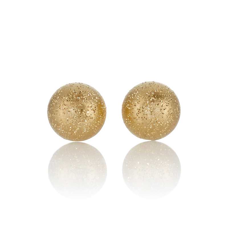 Petite Shimmer Button Gold Stud Earrings