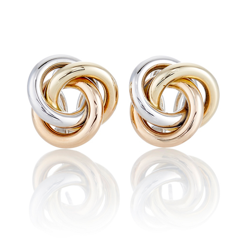 Tricolor Gold Tri-Circle Earrings