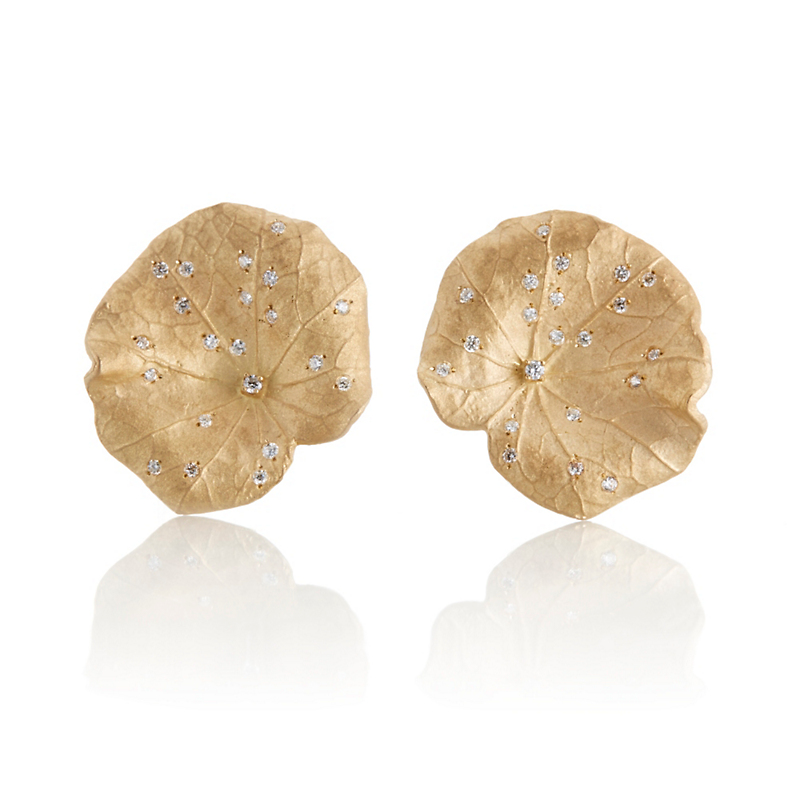 Gold and Diamond Lily Pad Earrings