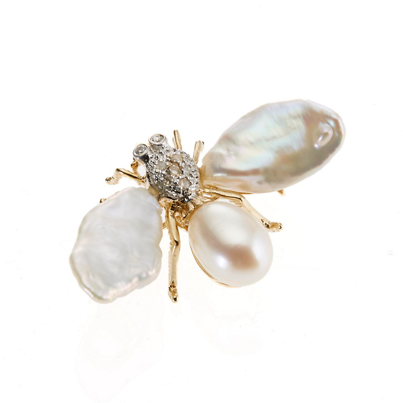Pearl and Diamond Bee Brooch