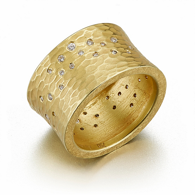 Barbara Heinrich Scattered Diamonds On A Wide Textured Band Ring