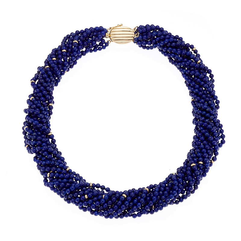 Gump's Twelve Strand Lapis & Gold Twist Necklace