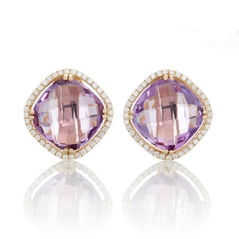 Checkerboard Amethyst and Diamond Earrings